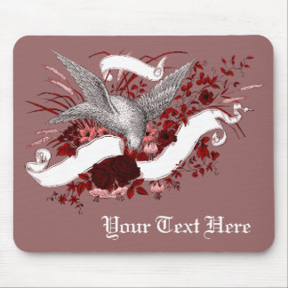 Bird on Bouquet (Red) Mouse Pad