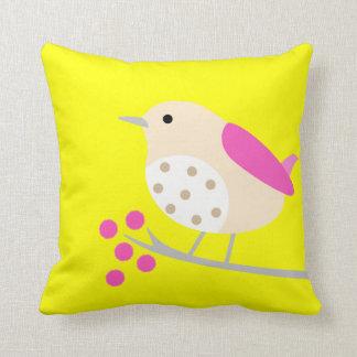 Bird on Branch & Blossoms - yellow Cushion