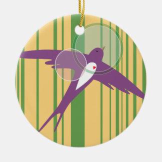 Bird on Flight Christmas Ornament: Violet Lark Christmas Ornament