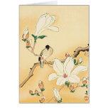 Bird on Magnolia Tree Japanese Woodblock Print