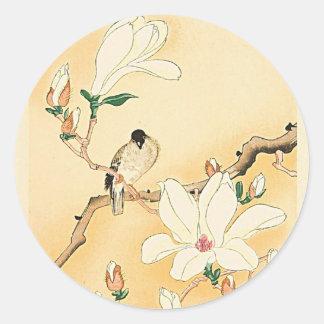 Bird on Magnolia Tree Japanese Woodblock Print Classic Round Sticker