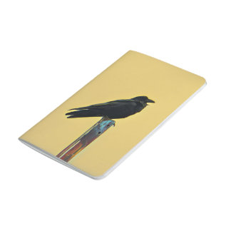 bird on post pocket journal in yellow