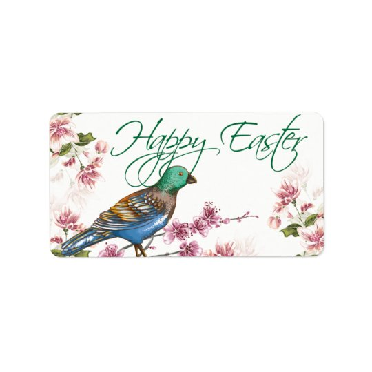 Bird on Spring Branches Happy Easter Labels