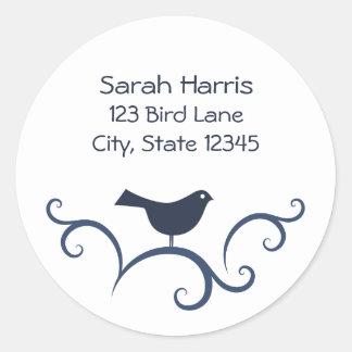 Bird on swirls address label round sticker