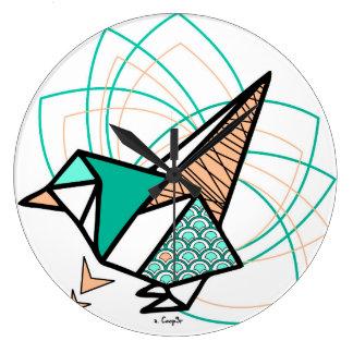 Bird origami large clock