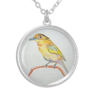 Bird Painting Yellow Exotic Bird Silver Necklace