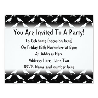 Bird Pattern. Crows in Black and White. 11 Cm X 14 Cm Invitation Card