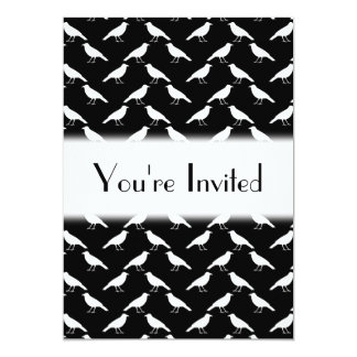 Bird Pattern. Crows in Black and White. 13 Cm X 18 Cm Invitation Card
