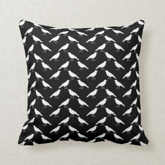 Bird Pattern. Crows in Black and White. Cushion