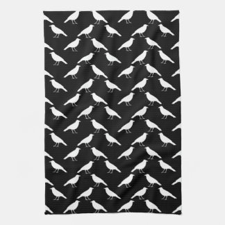 Bird Pattern. Crows in Black and White. Kitchen Towels