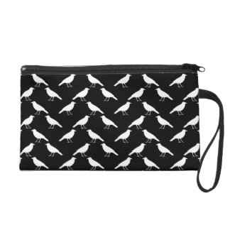 Bird Pattern. Crows in Black and White. Wristlet