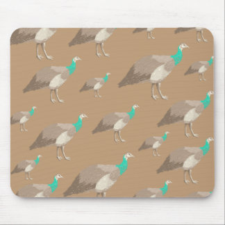 Bird Pattern on Brown, Peahens. Mouse Pad
