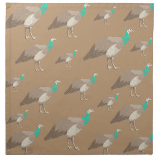 Bird Pattern on Brown, Peahens. Cloth Napkin