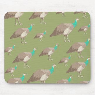 Bird Pattern on Olive Green. Peahens. Mouse Pad