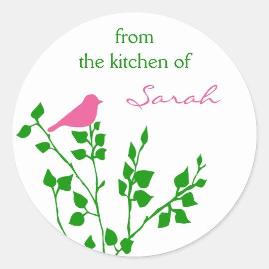 Bird Personalised Pink Green Baking Stickers