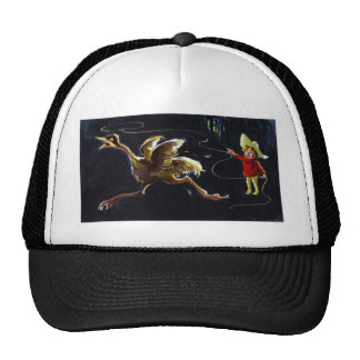 Bird Runs from Guy with Lasso Mesh Hats