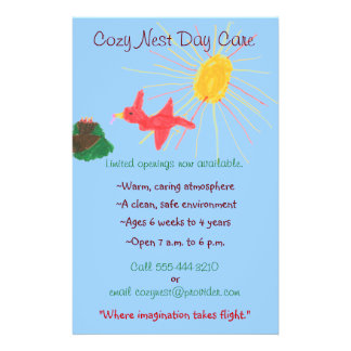 Bird s nest themed child care flyer