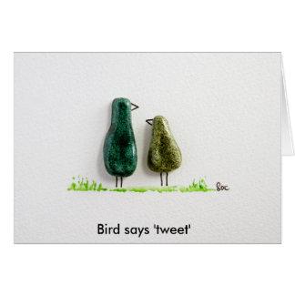 Bird says 'tweet' 2 cute love birds green ceramic card