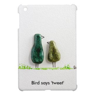 Bird says 'tweet' 2 cute love birds green ceramic iPad mini covers