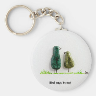 Bird says 'tweet' 2 cute love birds green ceramic key ring