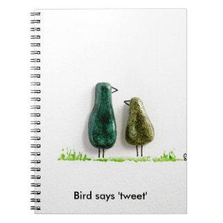 Bird says 'tweet' 2 cute love birds green ceramic spiral notebook