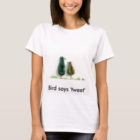 Bird says 'tweet' 2 cute love birds green