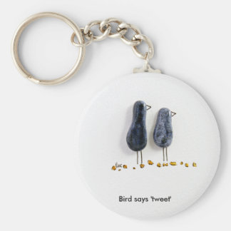 Bird says 'tweet' cute blue ceramic couple key ring