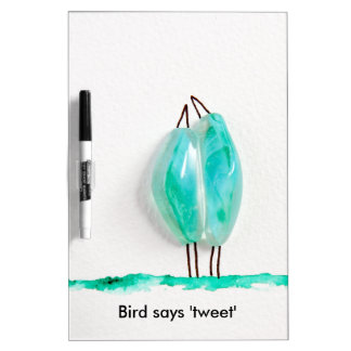 Bird says 'tweet' cute couple in love green glass dry erase whiteboards
