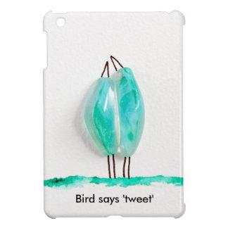 Bird says 'tweet' cute couple in love green glass iPad mini covers