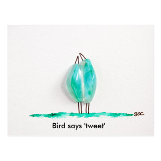 Bird says 'tweet' cute couple in love green glass postcard