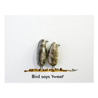 Bird says 'tweet' cute hematite couple postcard
