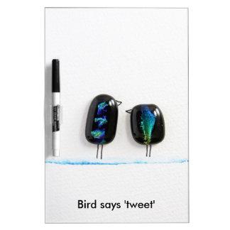 Bird says tweet - fun love birds in blue glass dry erase board