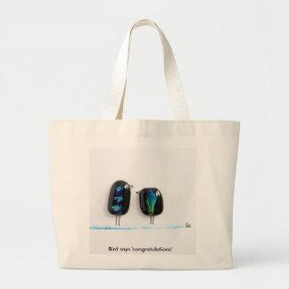 Bird says tweet - fun love birds in blue glass large tote bag