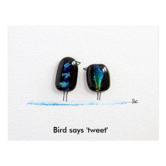 Bird says tweet - fun love birds in blue glass postcard