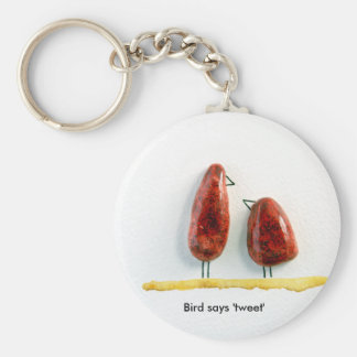 Bird says 'tweet' love birds sparkly red ceramic key ring