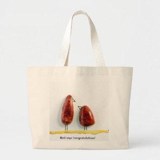 Bird says 'tweet' love birds sparkly red ceramic large tote bag