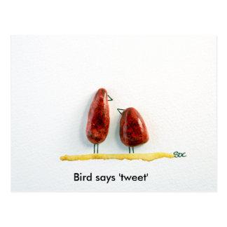 Bird says 'tweet' love birds sparkly red ceramic postcard
