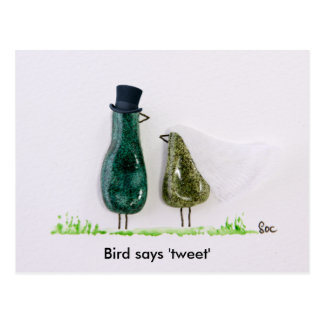 Bird says 'tweet' postcard