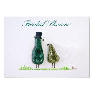 Bird says 'tweet' Wedding couple in green ceramic Card