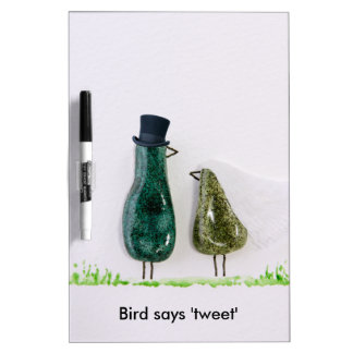 Bird says 'tweet' Wedding couple in green ceramic Dry-Erase Whiteboards
