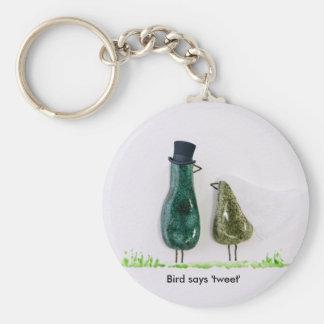 Bird says 'tweet' Wedding couple in green ceramic Key Ring