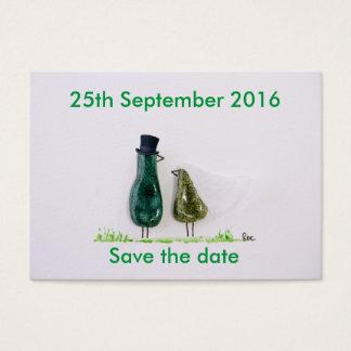 Bird says 'tweet' wedding green ceramic couple