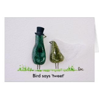 Bird says 'tweet' wedding green ceramic couple card