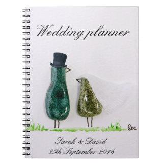 Bird says 'tweet' wedding green ceramic couple spiral notebooks