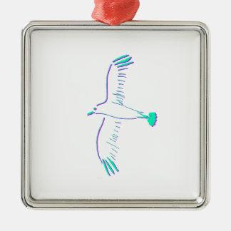 bird Silver-Colored square decoration