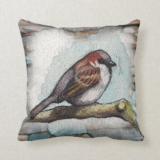 Bird, Sparrow: Watercolor Painting: Rocks, Stones Cushion