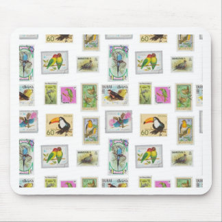 Bird Stamps on White Collections Mouse Pad