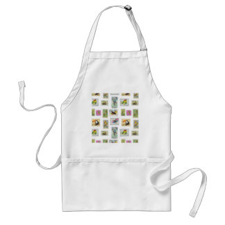 Bird Stamps on White Collections Standard Apron