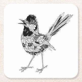 Bird Tattoo Square Paper Coaster