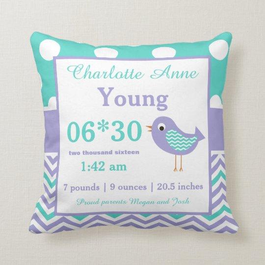 Bird Teal Purple Baby Announcement Pillow